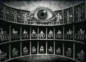 "Michael Ulrich, ""Panopticon"", scratchboard, framed, $400"