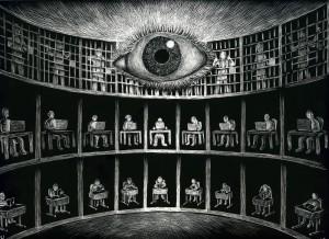 "Michael Ulrich, ""Panopticon"", scratchboard, framed, $400"