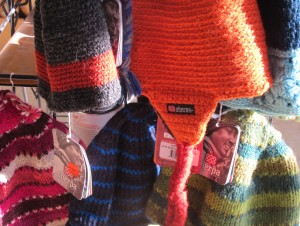 Hand-knit hats from Nepal, $17.95.