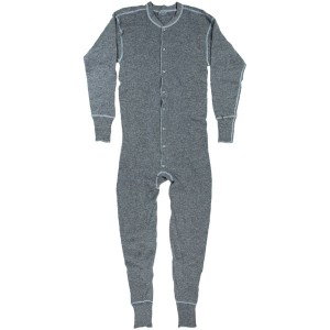 A blend of black and white yarns creates the beautiful gray of this Stanfield's union suit.