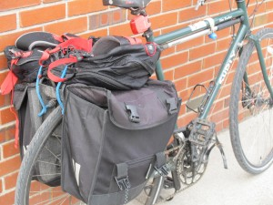 Brian uses panniers for shopping and bringing stuff to work.
