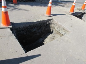 Two holes were dug before the junction from the main line was accessed.