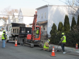A different crew working on the north side of Main Street on Tuesday.