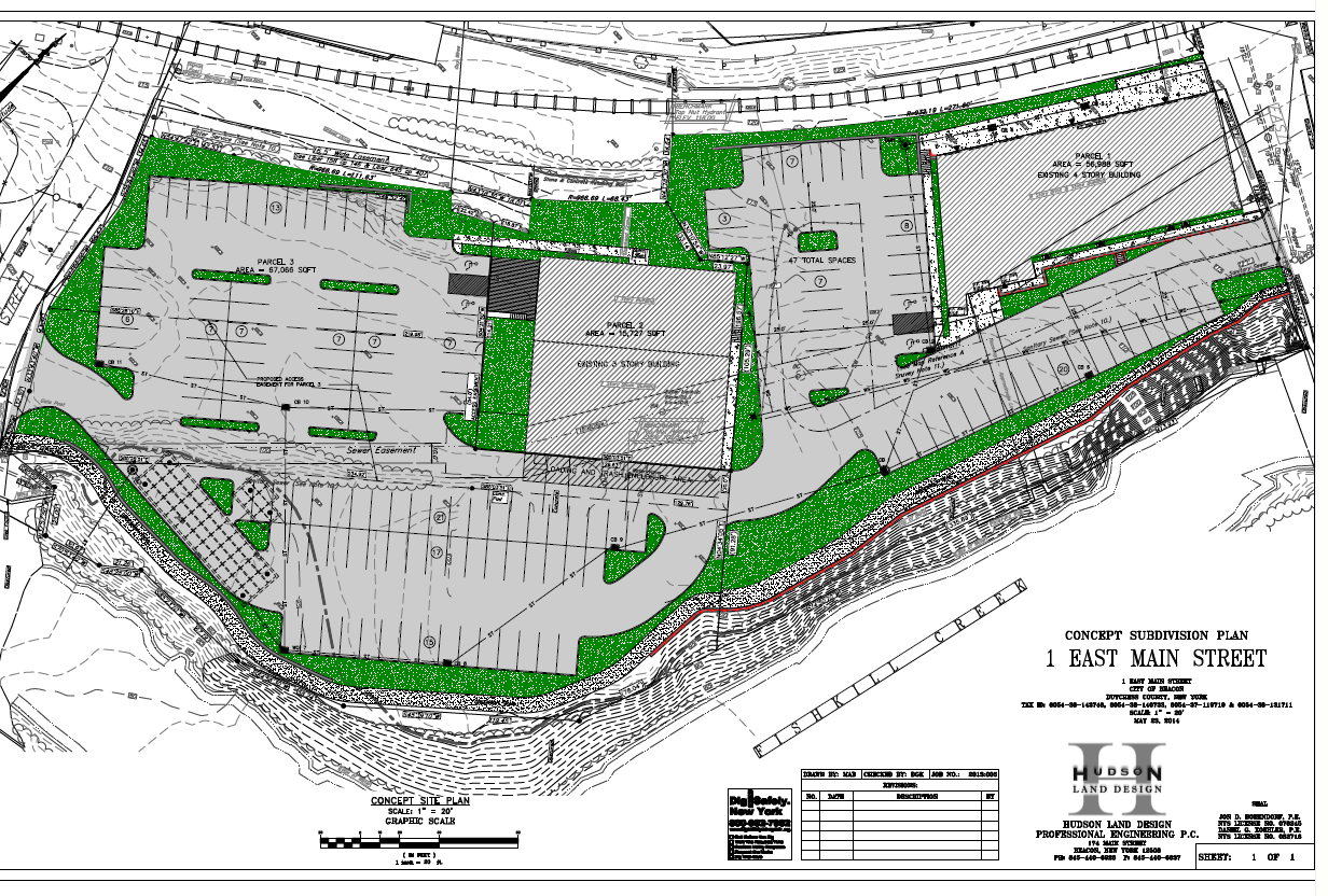 A proposed layout for a parking lot off Churchill  near the creek  Click to. New Parking Lot for East End On the Table