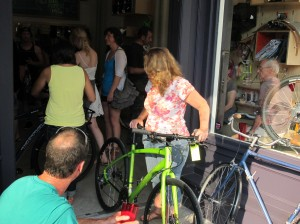 A big crowd turned out for beer and bicycles.