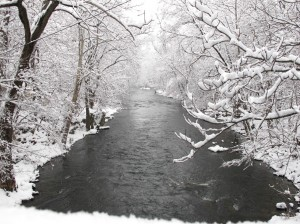 creek from bridge in snow