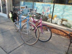 The bike on the left is a Schwinn, too, but features the more standard 700C wheel size.